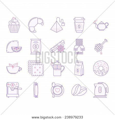 Collection Of Tea And Coffee Vector Icons.