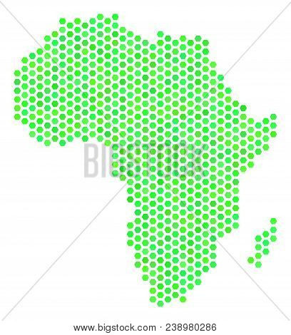 Eco Green Africa Map. Vector Hex Tile Geographic Scheme Using Eco Green Color Tones. Abstract Africa