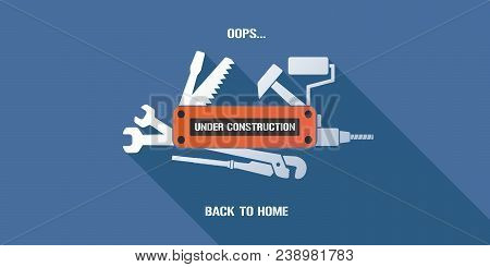 404 Error Page Vector Illustration, Banner With Not Found Message. Abstract Simple Background With U