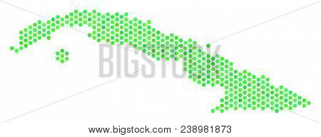 Fresh Green Cuba Map. Vector Hex-tile Geographic Map In Eco Green Color Tones. Abstract Cuba Map Mos
