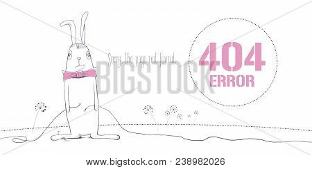 404 Error Page Vector Illustration, Banner With Not Found Text. Rabbit Disconnecting Wires Backgroun