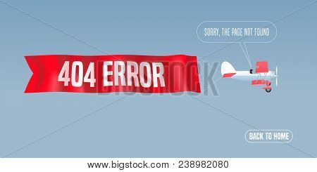 Template 404 Error Page Vector Illustration, Banner With Not Found Message. Retro Biplane With Mista