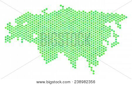 Eco Green Eurasia Map. Vector Hex Tile Territory Map In Green Color Variations. Abstract Eurasia Map