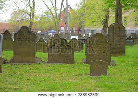 Halifax, Ns, Canada - May 22, 2016: Gravestones In Old Burying Ground In Downtown Halifax, Nova Scot