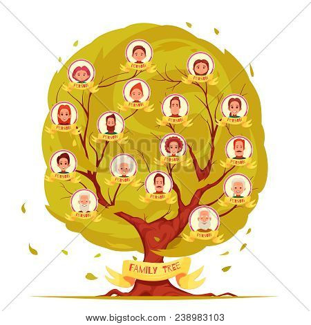 Genealogical Tree Set Of Family Members From Elderly Persons To Young Generation On Leafage Backgrou