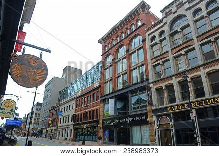 Halifax, Ns, Canada - May 22, 2016: Historic Buildings On Barrington Street Between Prince Street An