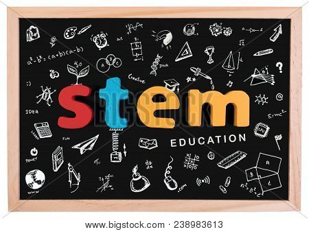 Stem Education. Science Technology Engineering Mathematics. Stem Word On School Blackboard With Dood