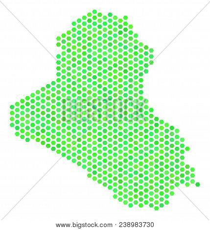 Eco Green Iraq Map. Vector Hexagonal Geographic Map Using Eco Green Color Tones. Abstract Iraq Map C
