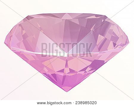 Pink Diamond Side View Render Isolated On White Background (3d Illustration)