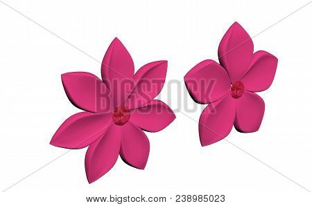 Pink Plastic Flowers (three Quarters View) Render Isolated On White Background (3d Illustration)