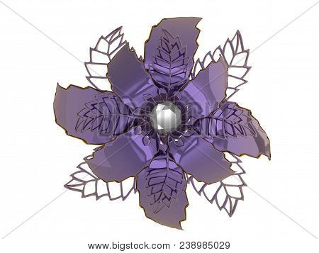 Lilac Colored Metal Flower Rendering Isolated On White Background (3d Illustration)