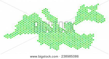 Eco Green Mediterranean Sea Map. Vector Honeycomb Territory Scheme Drawn With Green Color Tinges. Ab