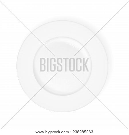 Vector White Realistic Flat Plate. View From Above. Layout Of A White Plate, Kitchen Accessories, Di