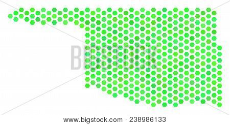 Green Oklahoma State Map. Vector Hexagon Territory Plan In Green Color Tints. Abstract Oklahoma Stat