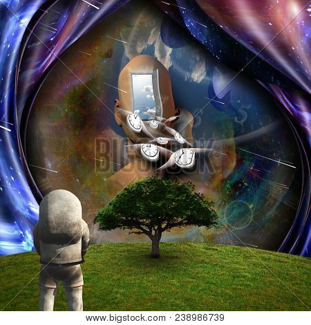 Surrealism. Flow of Time through space. Astronaut in the green field. 3D rendering.