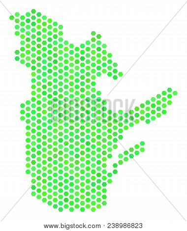 Eco Green Quebec Province Map. Vector Hexagon Territory Map In Green Color Hues. Abstract Quebec Pro