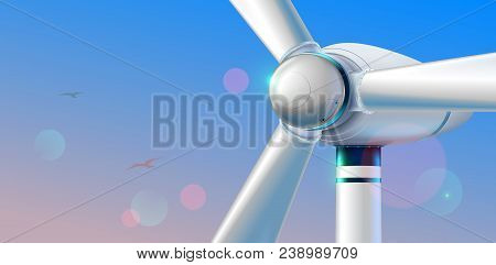 Wind Turbine Close Up. Abstract Wind Power Station Producing Renewable Alternative Energy On Clear S