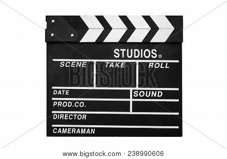 The Clapper. Clapboard Isolated On White Background.