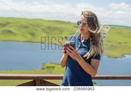 Young Woman Drinking Chimarrão (mate) With Beautiful View