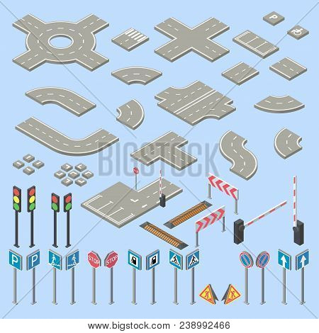 Vector 3d Isometric Road Signs Collection, Pieces Of Street, Highway. Roadwork, Crossroads Cartoon E