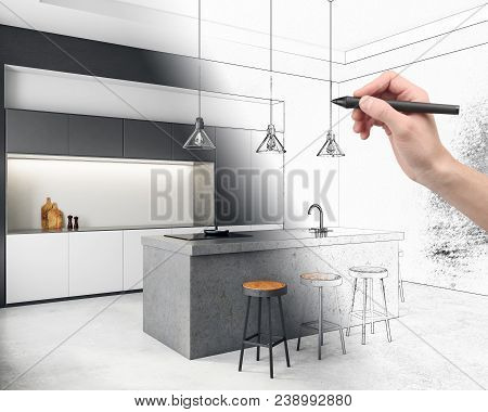 Hand Drawing Creative Kitchen Interior. Architecture And Design Concept. 3d Rendering
