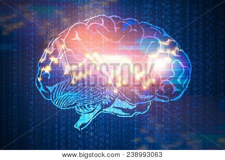 Abstract Digital Brain With Forex Chart On Binary Code Background. Computing, Ai And Trade Concept.