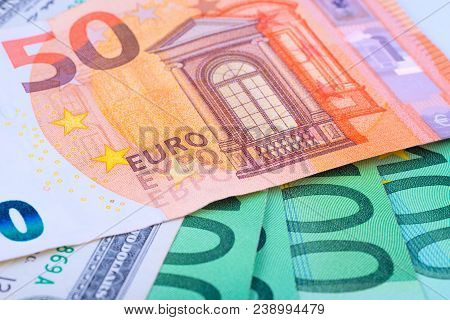 Macro Photo-background Of The European Currency Euro