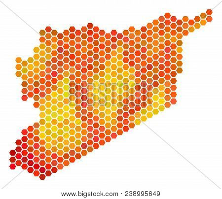 Syria Map. Vector Honeycomb Territorial Map Using Flame Color Tints. Impressive Syria Map Collage Is