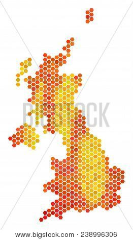 United Kingdom Map. Vector Hex Tile Geographic Map Drawn With Hot Color Tints. Abstract United Kingd