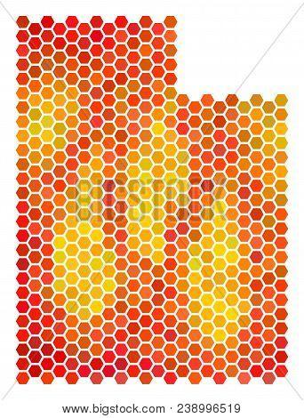 Utah State Map. Vector Hexagonal Territory Map Drawn With Bright Orange Color Tones. Abstract Utah S
