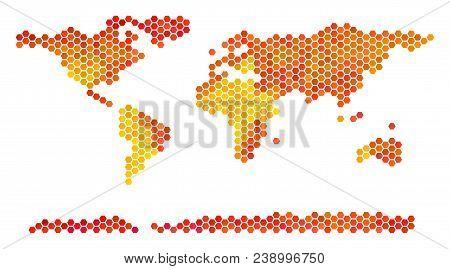 World Continent Map. Vector Hex-tile Territory Scheme In Bright Orange Color Hues. Impressive World
