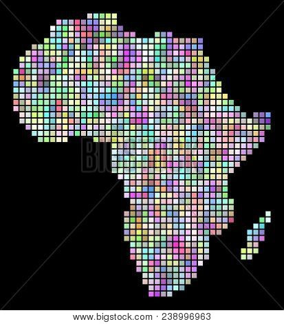Dot Africa Map. Vector Geographic Map In Smoothed Variable Colors On A Black Background. Vector Mosa
