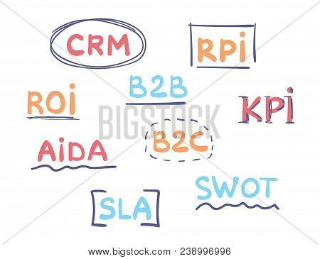 Business Acronyms Handwritten Vector Set. Marketing Concept.