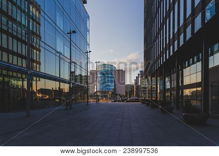 Dublin, Ireland - April 30th, 2018: View Of The Convention Centre Near The Renovated Dublin Dockland