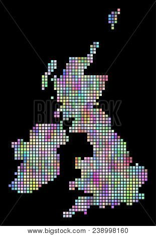 Dot Great Britain And Ireland Map. Vector Geographic Map In Smoothed Random Colors On A Black Backgr