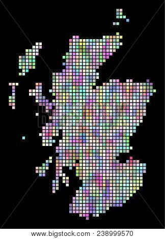 Pixel Scotland Map. Vector Geographic Map In Smoothed Random Colors On A Black Background. Vector Mo