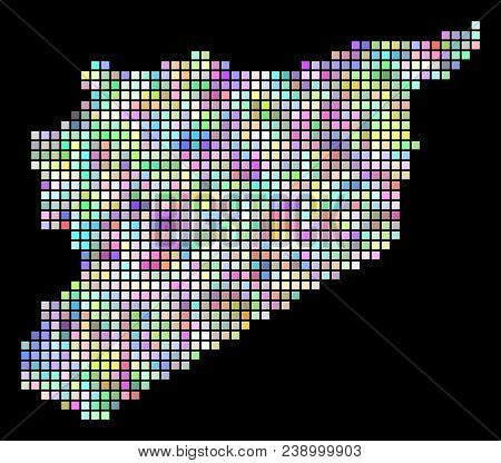 Dotted Syria Map. Vector Geographic Map In Smoothed Arbitrary Colors On A Black Background. Vector C