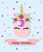 Vector illustration with Unicorn, pink ribbon. Unicorn as baby shop logo, patch, stick cake topper, t-shirt design, sticker.Template for Unicorn party invitation, Happy Birthday, greeting card. poster