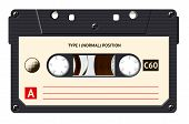 Cassette with retro label as vintage object for 80s revival mix tape design, party poster or cover. Realistic vector sign or icon poster