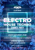 Glitch party poster with blue background and square for electro, house and techno rave club nights. Advertising leaflet or flyer with modern electronic music dance party poster