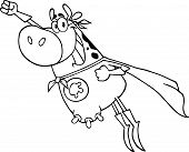 Outlined Super Hero Cow Flying Cartoon Character poster