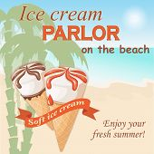 Banner with two realistic waffle cone ice creams on the seascape background. Ice cream parlor letters and ribbon with text soft ice cream. eps 10 poster