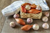 Garlic and onion in the basket on the table poster
