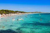 Ibiza island,beach Ses Salines  in Sant Josep at Balearic islands poster