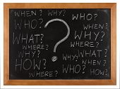 Questions: what, where, when, why, how, who written on blackboard isolated on white background poster