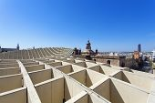 From the top of the Space Metropol Parasol, Setas de Sevilla, one have the best view of the city of Seville, Andalusia, Spain poster
