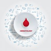 Icons For Medical Specialties. Hematology Concept. Vector Illustration With Hand Drawn Medicine Doodle. Blood, Cell, Artery, Plasma, Vein, Transfusion poster