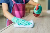 Young woman in protective gloves using a duster and spray for cleaning furniture poster