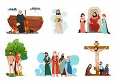 Bible narratives stylized compositions set with noah ark forbidden fruit moses story and crucifixion isolated vector illustration poster