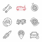 Auto workshop linear icons set. Repair service, broken car, tire puncture, assistance, tow truck, wheel, spark plug, gps, total check. Thin line contour symbols. Isolated vector outline illustrations poster